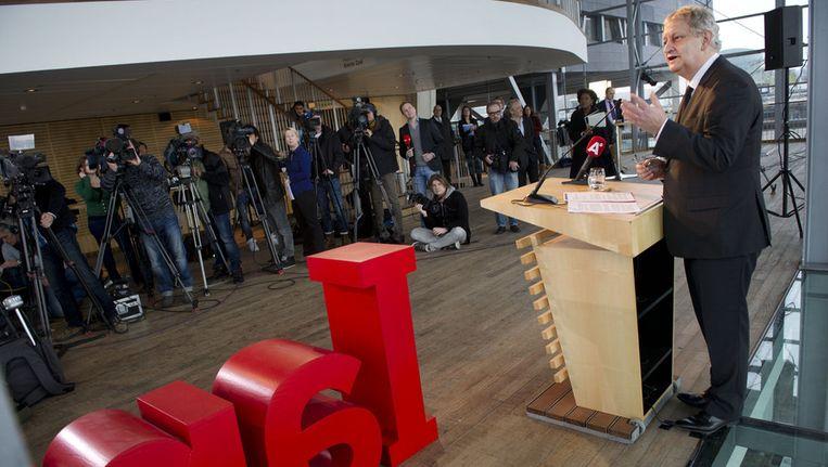 Burgemeester Eberhard van der Laan van Amsterdam tijdens de bekendmaking van het programma ter gelegenheid van de troonswisseling. Beeld ANP