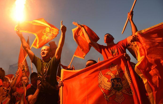 Betogers in Podgorica, Montenegro tijdens een protest gisteravond.