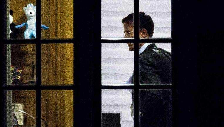 Premier Mark Rutte in het Torentje op de avond van het referendum. Beeld anp
