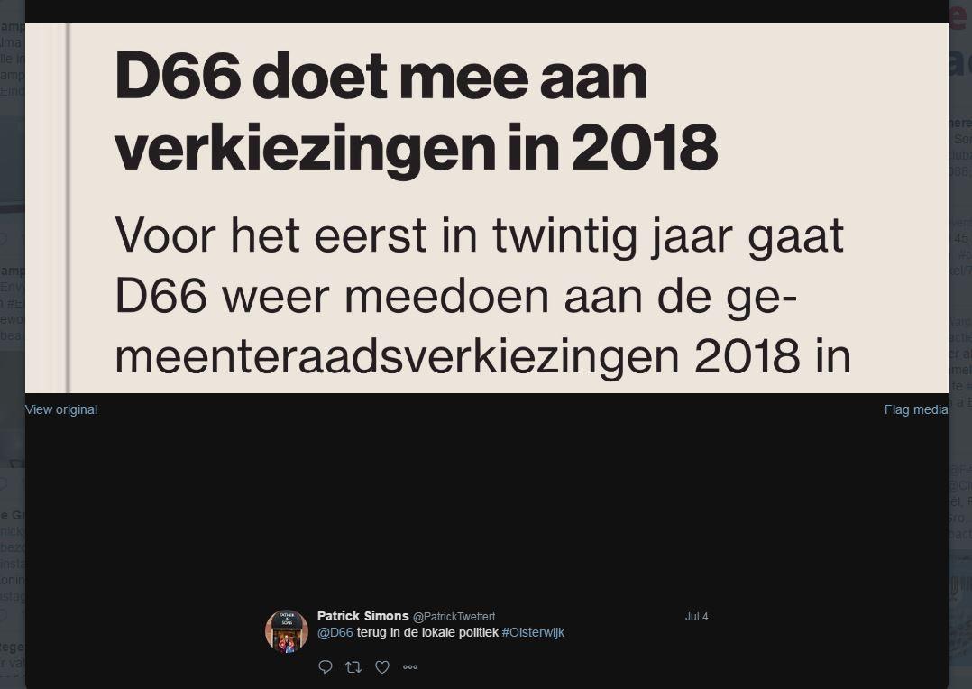 D66-tweet van het Oisterijkse gemeenteraadslid Patrick Simons