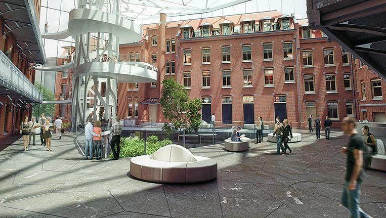 Het ontwerp van de bibliotheek in het voormalige Zusterhuis en de Tweede Chirurgische kliniek in de Nieuwe Doelenstraat en de Vendelstraat. Beeld MVSA Architects