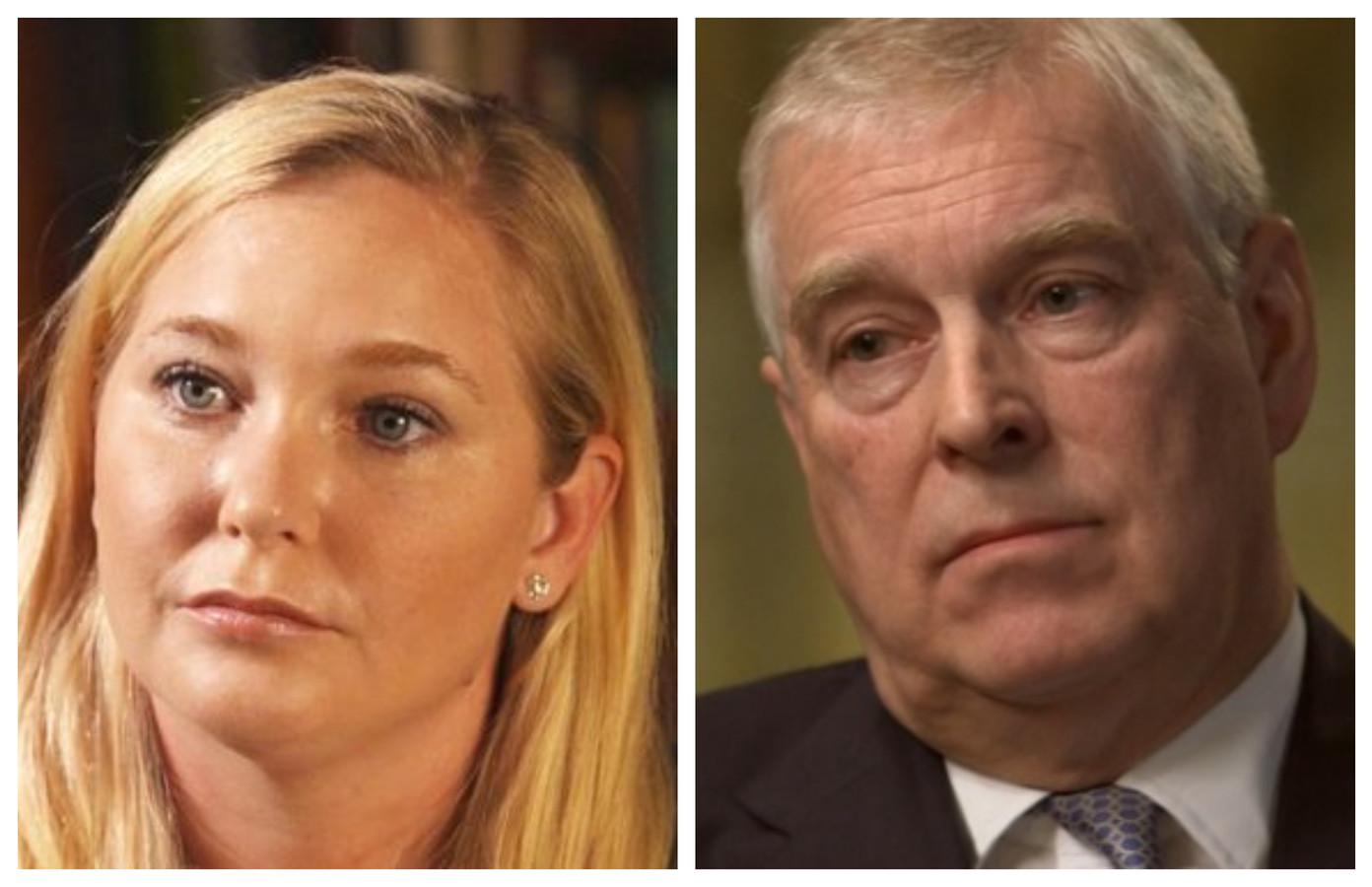 De Amerikaanse Virginia Roberts Giuffre in het vraaggesprek. Foto rechts: prins Andrew in zijn berucht BBC-interview van enkele weken geleden.