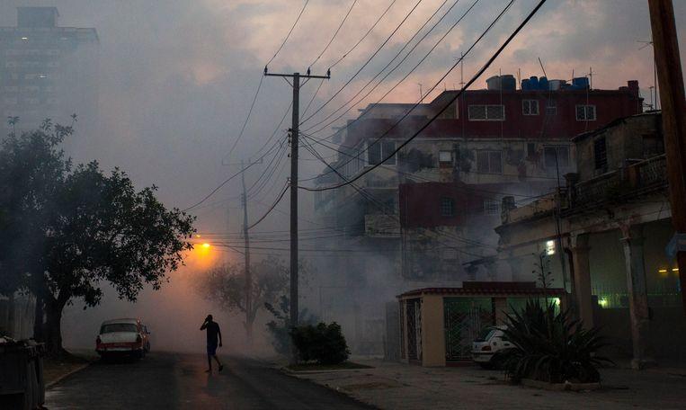 Een grootschalige bestrijdingsactie in de straten van Havana tegen de zika-muggen in 2016.  Beeld AP