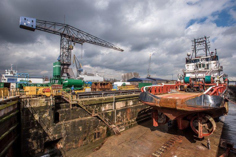 Renovatie van de HMS Rotterdam bij Damen. Beeld Joris Van Gennip