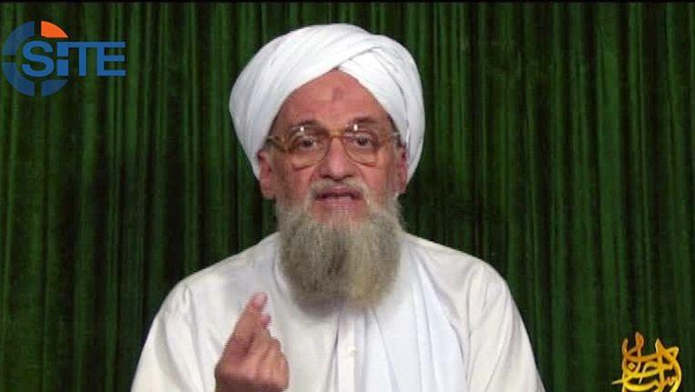 Ayman al-Zawahiri, de leider van Al Qaida tijdens een toespraak op een onbekende locatie. Beeld AFP