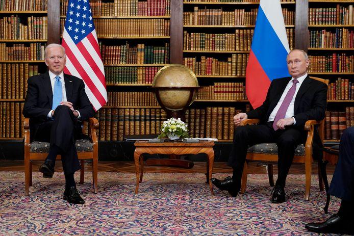 Amerikaans president Joe Biden en Russisch president Vladimir Poetin tijdens een ontmoeting eerder deze week in het Zwitserse Genève.