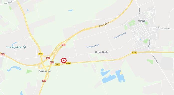 De plaats van de schietpartij, vlak naast knooppunt Paalgraven bij Schaijk.