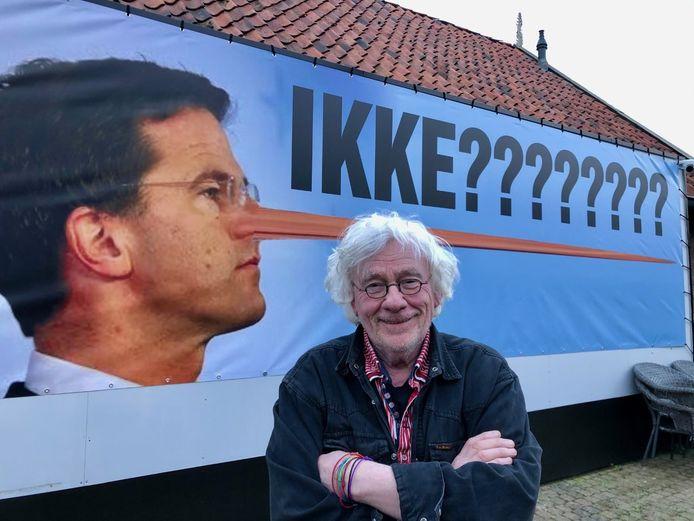 Frans Houben maakt statement met Rutte als liegende Pinokkio.