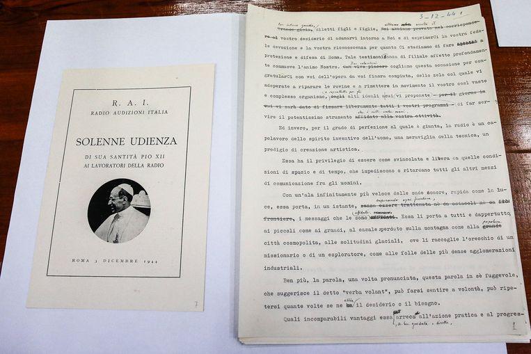 Aantekeningen bij een radiotoespraak van Paus Pius XII. Beeld EPA