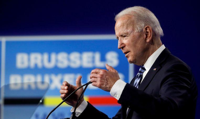 De Amerikaanse president Joe Biden op het Navo-hoofdkantoor in Brussel. Beeld REUTERS