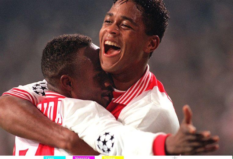 Patrick Kluivert debuteerde vandaag precies twintig jaar geleden bij Ajax tijdens de Supercup van 1994 tegen Feyenoord. Hij scoorde direct en besliste de wedstrijd met 3-0. Het leven van Patrick Kluivert in beeld<br /><br />Patrick Kluivert begon zijn carriere bij Ajax op 21 augustus 1994. Hij speelde in totaal drie seizoenen bij de Amsterdamse club. Beeld ANP