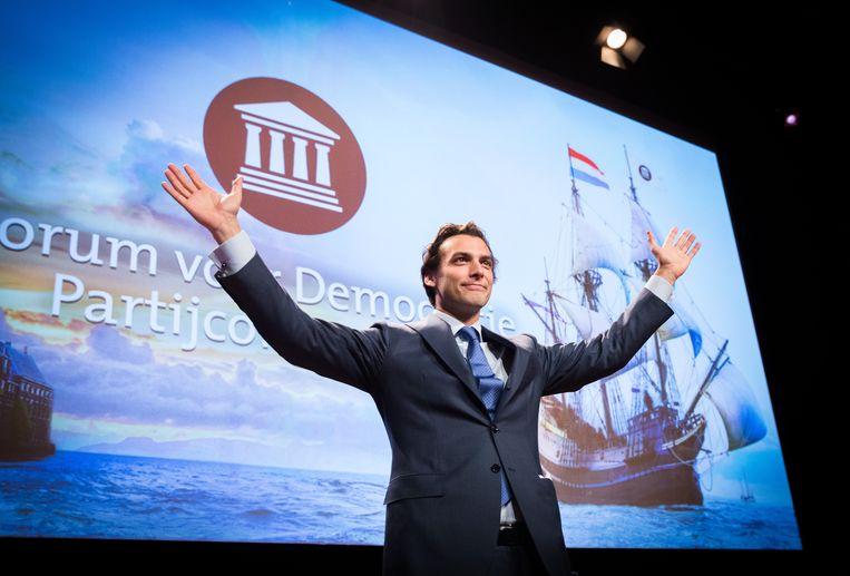 Fractievoorzitter Thierry Baudet na zijn speech op het partijcongres van Forum voor Democratie in de RAI. Beeld Hollandse Hoogte /  ANP