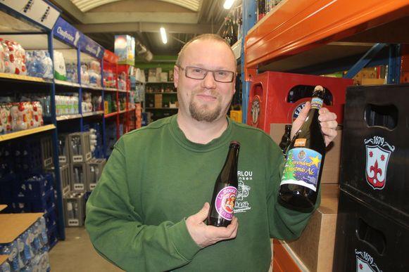 Bierhandelaar Davy De Ceuster zet het winter- en kersbier in de solden