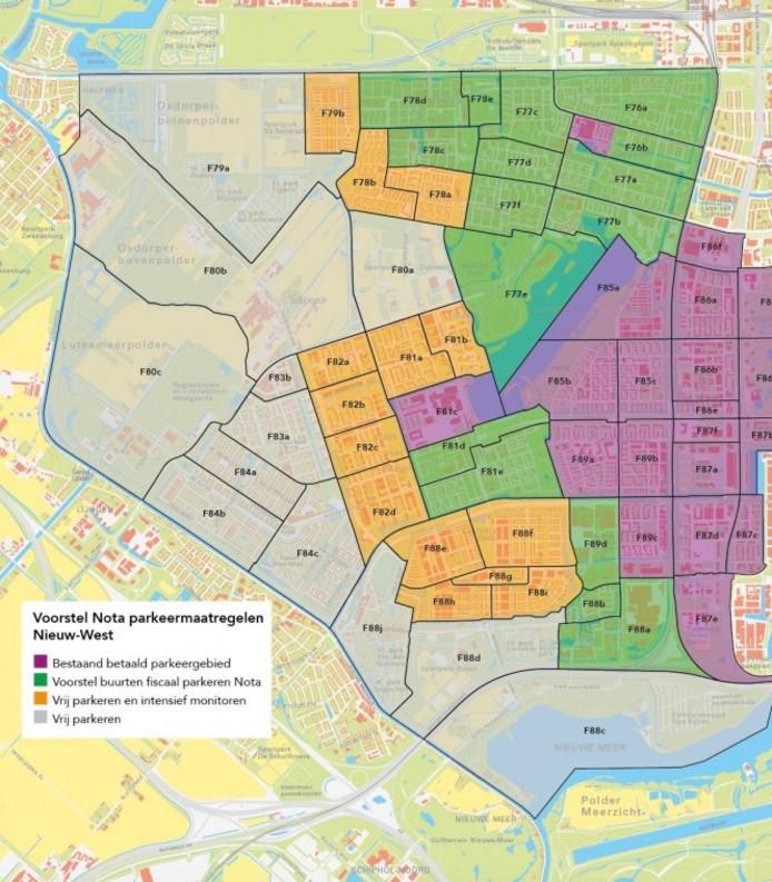 Het voorstel van Stadsdeel Nieuw-West op op sommige plekken in de buurt betaald parkeren in te voeren