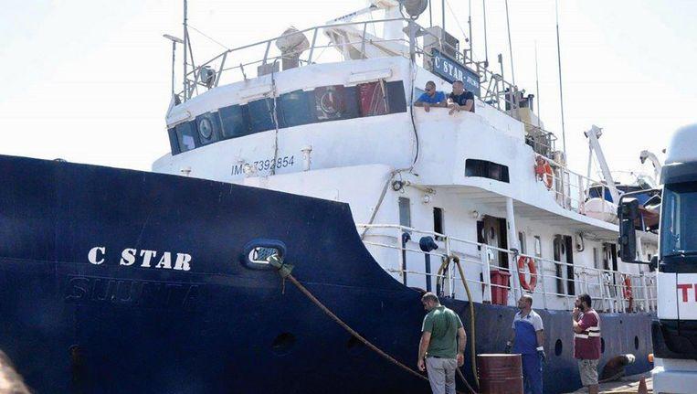 Het schip de C-star van het extreem-rechtse Defend Europe in de haven van Famagusta, Noord-Cyprus. Beeld epa