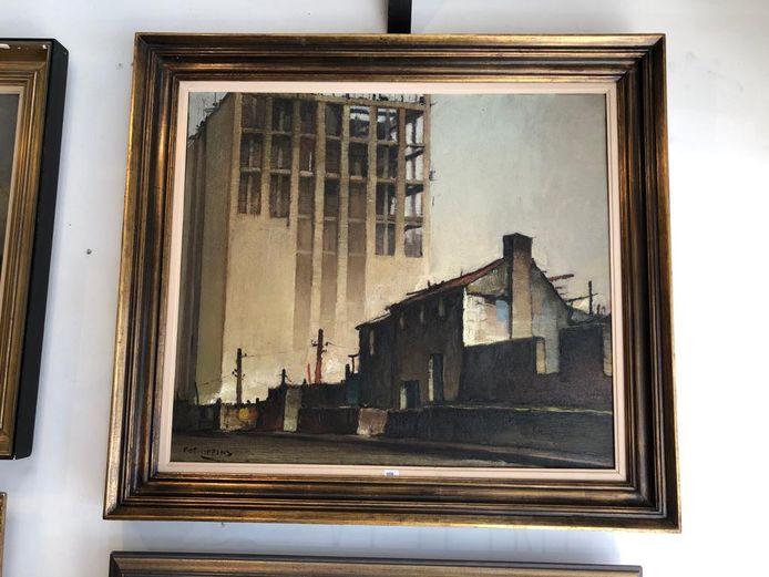 Dit werk van Piet Lippens toont de bouw van de Gentse Boekentoren.
