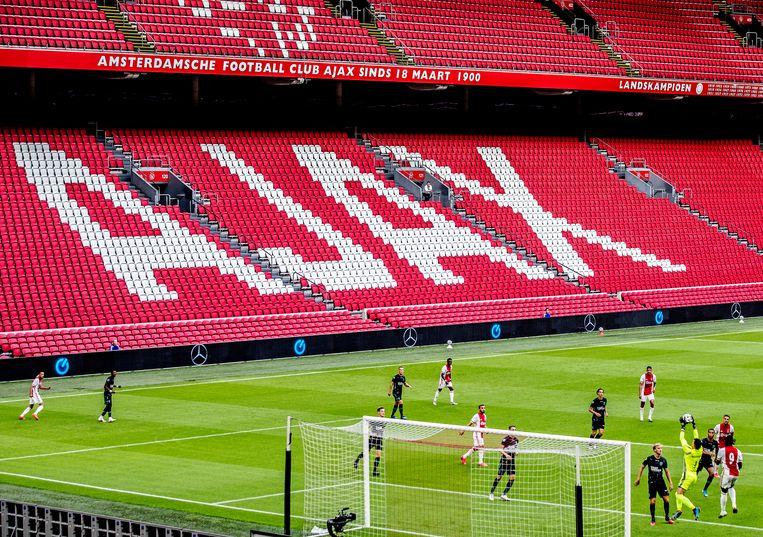 In een lege Johan Cruyff Arena oefende Ajax tegen RKC Waalwijk. Beeld Pim Ras Fotografie
