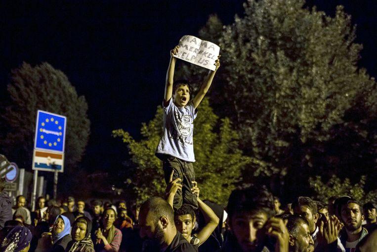 Horgos, Servië, bij de grens met Hongarije, 16 september. Beeld Reuters