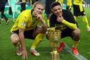Jadon Sancho (r) is voor 85 miljoen verkocht aan Manchester United. Voor Erling Haaland (l) wil Dortmund zelfs 150 miljoen zien.