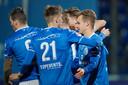 Vreugde bij FC Den Bosch na de Bossche treffer.