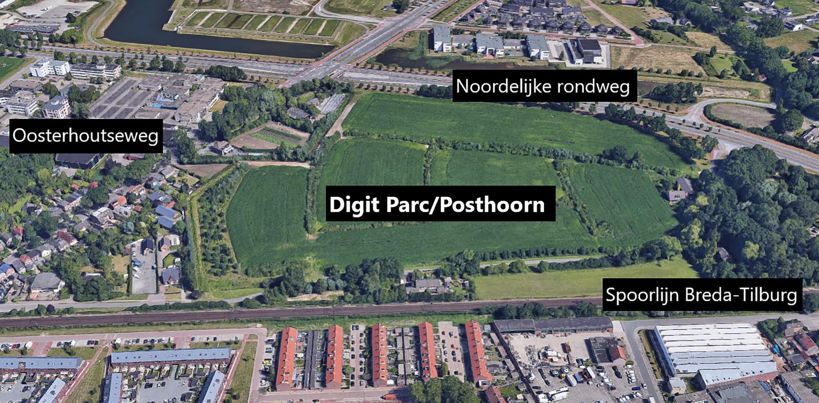 Het gebied de Posthoorn in Breda bij de Oosterhoutseweg. Eerder was dit terrein in beeld als hi-tech bedrijvenpark Digit Parc. Later kreeg het de status als gewoon bedrijventerrein.