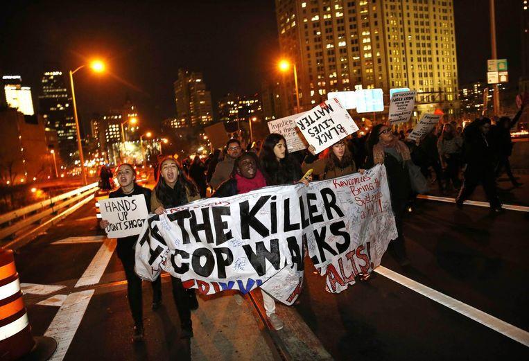 Demonstranten in Manhattan Beeld reuters