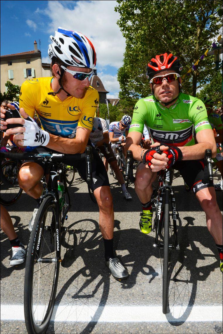Wiggins en Evans broederlijk naast elkaar. Beeld PHOTO_NEWS