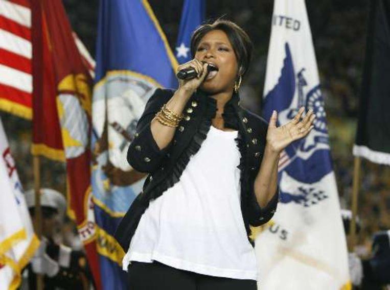 Jennifer Hudson bracht het Amerikaanse nationale volkslied. Beeld UNKNOWN