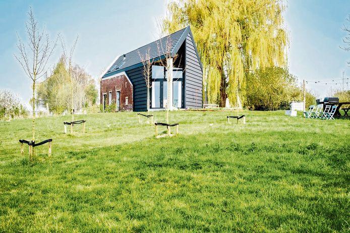 Het huis is omgeven door oude kerselaars en een imposante treurwilg.