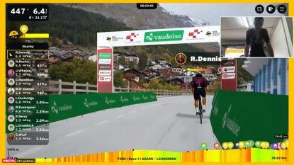 Rohan Dennis soleert naar de zege in eerste etappe van virtuele Ronde van Zwitserland