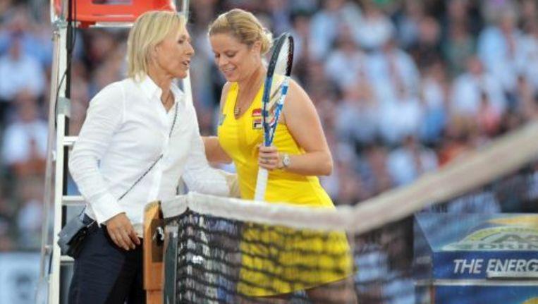 Kim Clijsters (R) en Martina Navratilova voor de wedstrijd van Clijsters tegen Serena Williams in Brussel. ANP Beeld