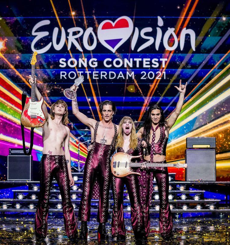 Måneskin uit Italie won het Eurovisie Songfestival 2021 met het nummer 'Zitti e buoni'. Beeld ANP