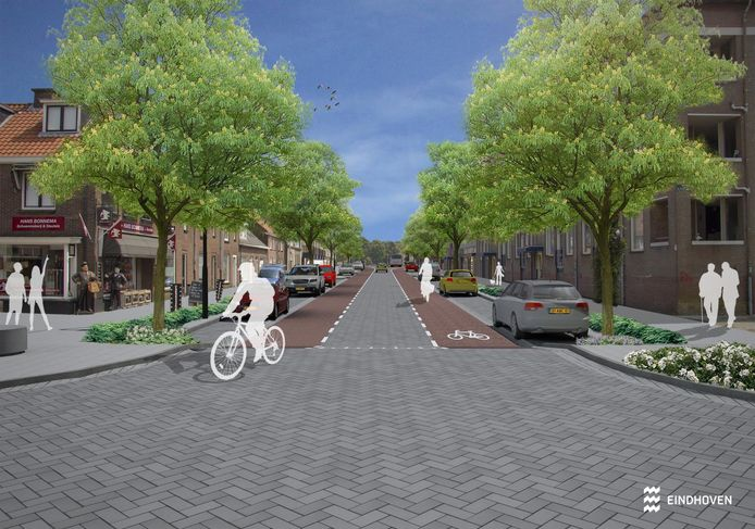 Een beeld van de nieuwe Geldropseweg in Eindhoven, op de kruising met de Past. Dijkmansstraat en de Voorterweg (links, met op de hoek de winkel van schoenmaker Hans Bonnema.