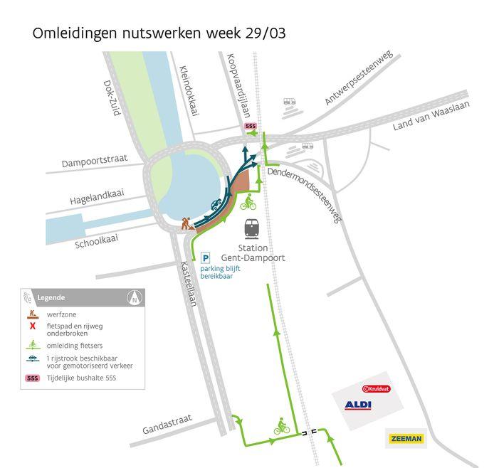 In de week van 29 maart zal er maar één rijstrook beschikbaar zijn voor het gemotoriseerd verkeer tussen de aansluiting van de Kasteellaan en de Dendermondsesteenweg. De toegang tot de parking van het station blijft altijd bereikbaar door een gefaseerde aanpak en het gebruik van rijplaten.