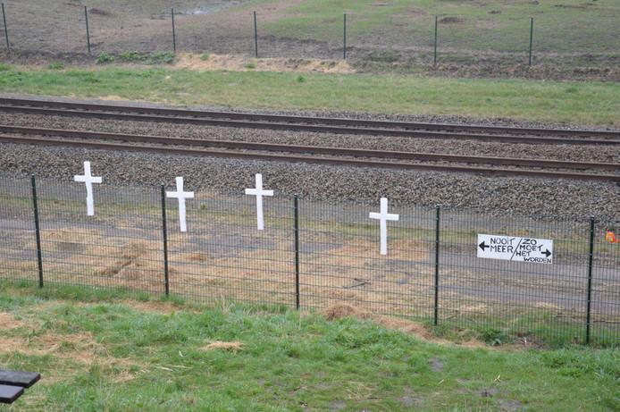 Enkele van de nog overgebleven kruisen die nog niet verwijderd zijn door Staatsbosbeheer.