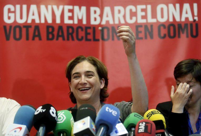 Ada Colau wordt de nieuwe burgemeester van Barcelona, zij staat symbool voor de politieke aardbeving na de Spaanse regionale verkiezingen Beeld REUTERS
