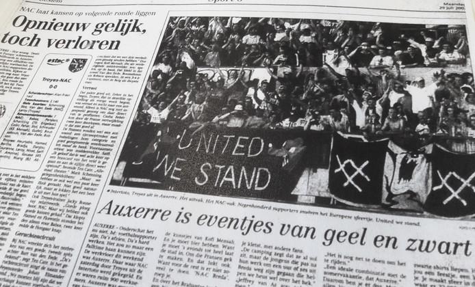Troyes-NAC krantenverslag in BN DeStem van maandag 29 juli