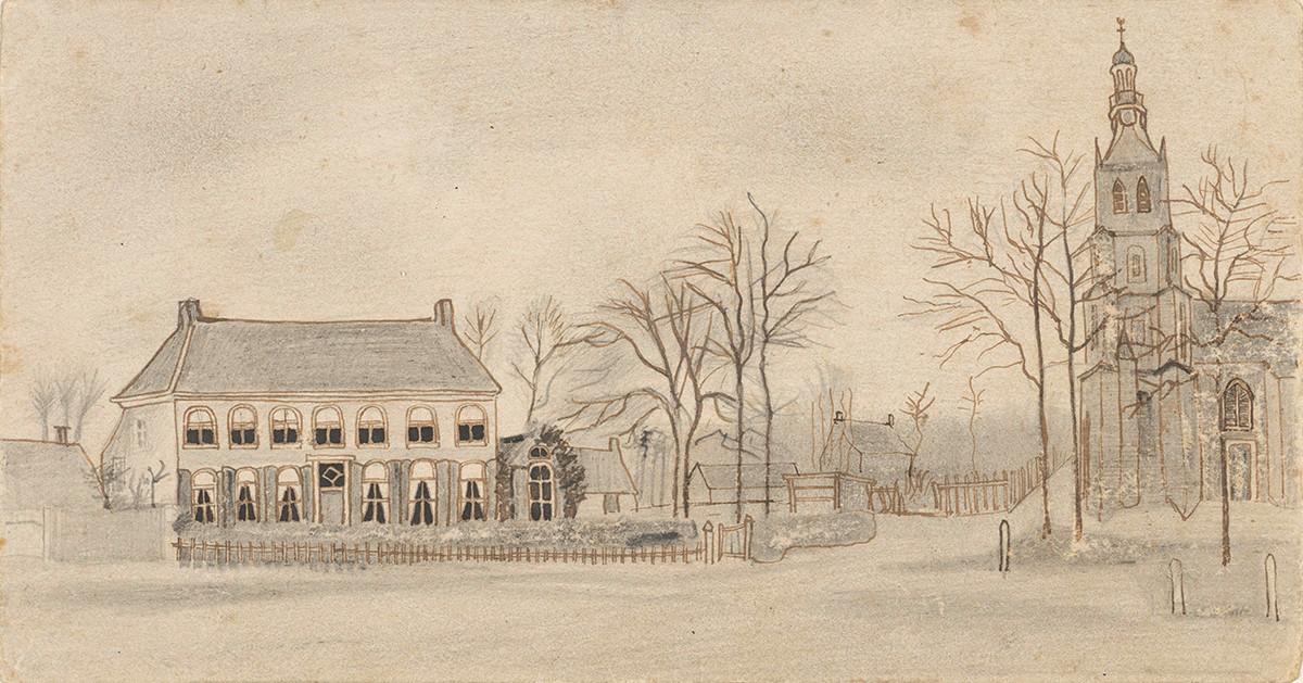 De pastorie waar Vincent tussen 1876 en 1881 bij zijn ouders in Etten woonde. Alleen tekeningen en een gedenksteen herinneren nog aan het in 1904 gesloopte pand.