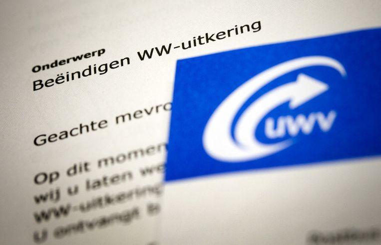 Een brief van het UWV over het beëindigen van de WW-uitkering. Beeld ANP