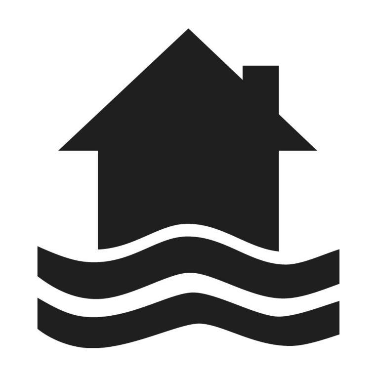 Het logo dat een huis in het water afbeeldt. Beeld Integraal Waterbeleid