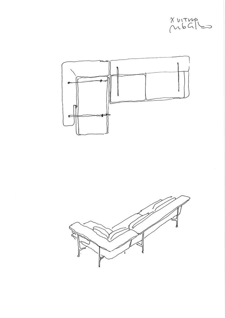Schets Grand Sofà (Vitra) door Antonio Citterio Beeld skizze Grand Sofa Vitra @Citterio