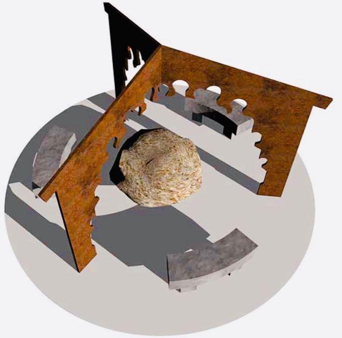 Het ontwerp van het Vossenbosch-monument, dat gemaakt is door kunstenaar Okke Weerstand uit Tollebeek.