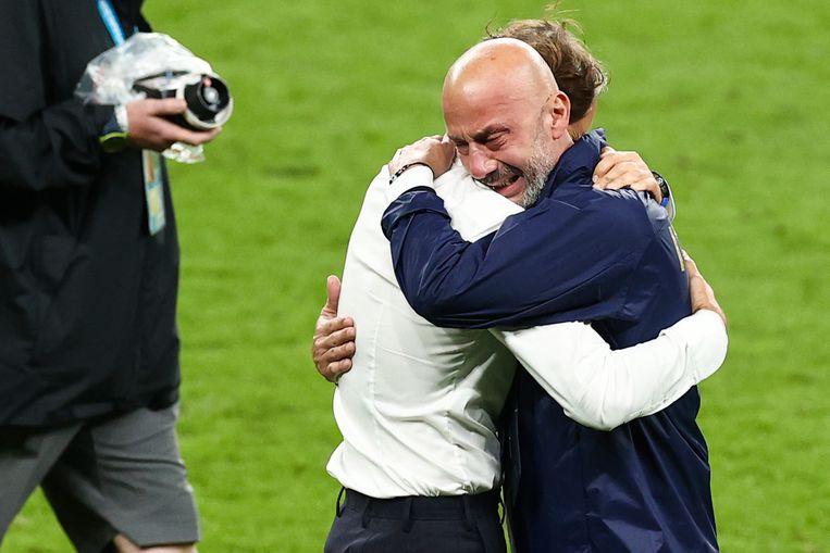 Italiaans bondscoach ROberto Mancini (links) en teammanager Gianluca Vialli (rechts) Beeld Reporters / DPA