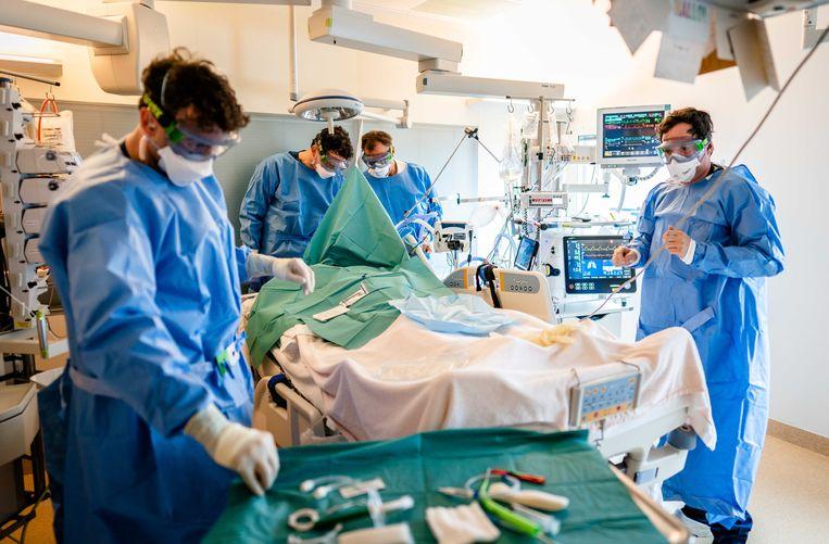 Ondanks een voortvarend vaccinatieprogramma hebben de ziekenhuizen het nog steeds druk, zoals hier op de ic-afdeling van het LUMC. Beeld ANP