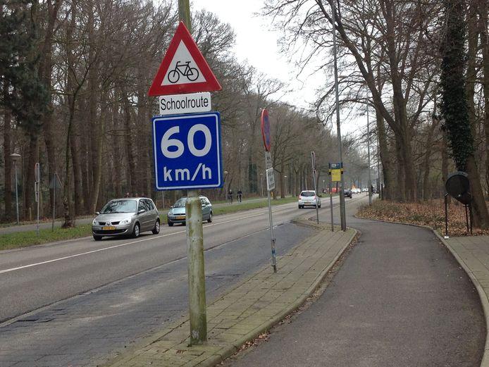 Het bord langs de Edeseweg tussen Ede en Bennekom.