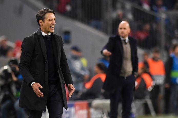 Niko Kovac tijdens het CL-duel met Ajax. Op de achtergrond Ajax-coach Erik ten Hag.