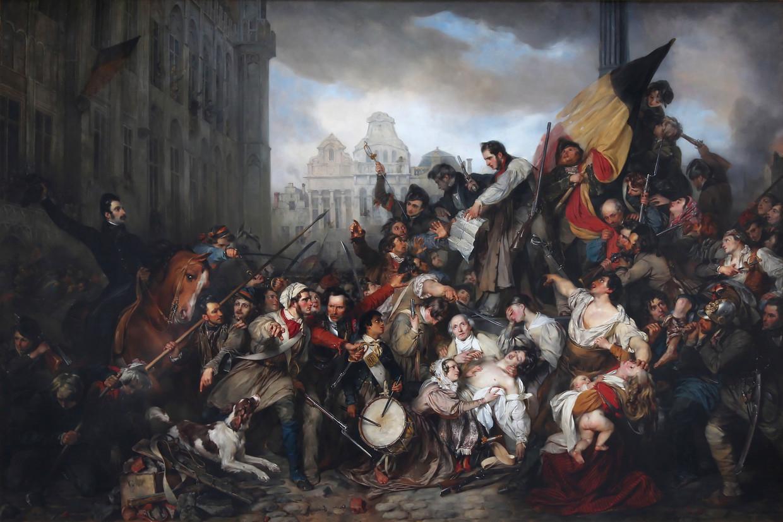 'Tafereel van de Septemberdagen 1830 op de Grote Markt te Brussel' (1835) van kunstschilder Gustaaf Wappers beeldt de Belgische revolutie af. Beeld rv