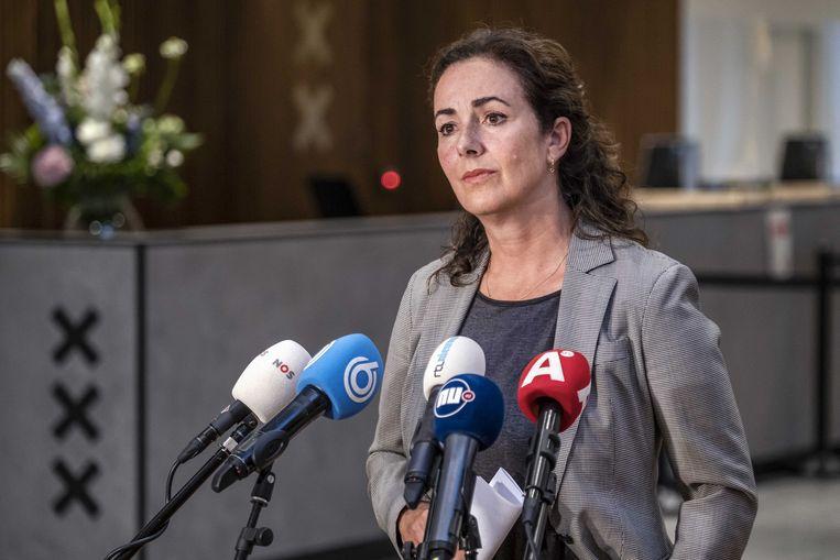 De Amsterdamse burgemeester Femke Halsema tijdens een persconferentie op het stadhuis.  Beeld ANP