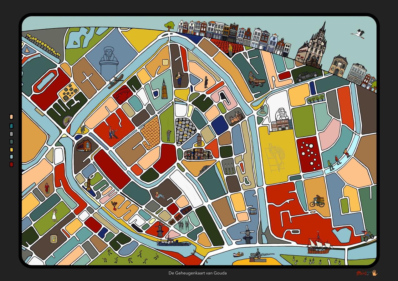 De kleurrijke vakjes met details en markante personen uit de stad (onder andere oud-ijzerboer Willem van Roijen en Nel Oskam van de Goudse Schouwburg) moeten verhalen lospeuteren.