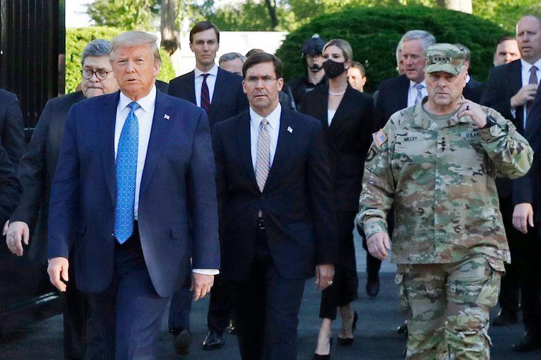 President Trump ligt met de legertop overhoop om zijn harde optreden tegen de demonstraties. Beeld AP